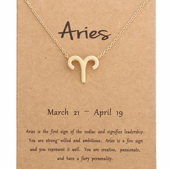 d45790e518711 ARIES Zodiac Gold Pendant Necklace & Card Boutique
